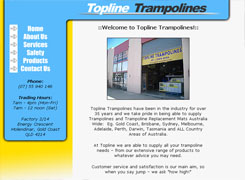 Topline Trampolines - web design and web hosting by Broadnet servicing Gold Coast and Brisbane